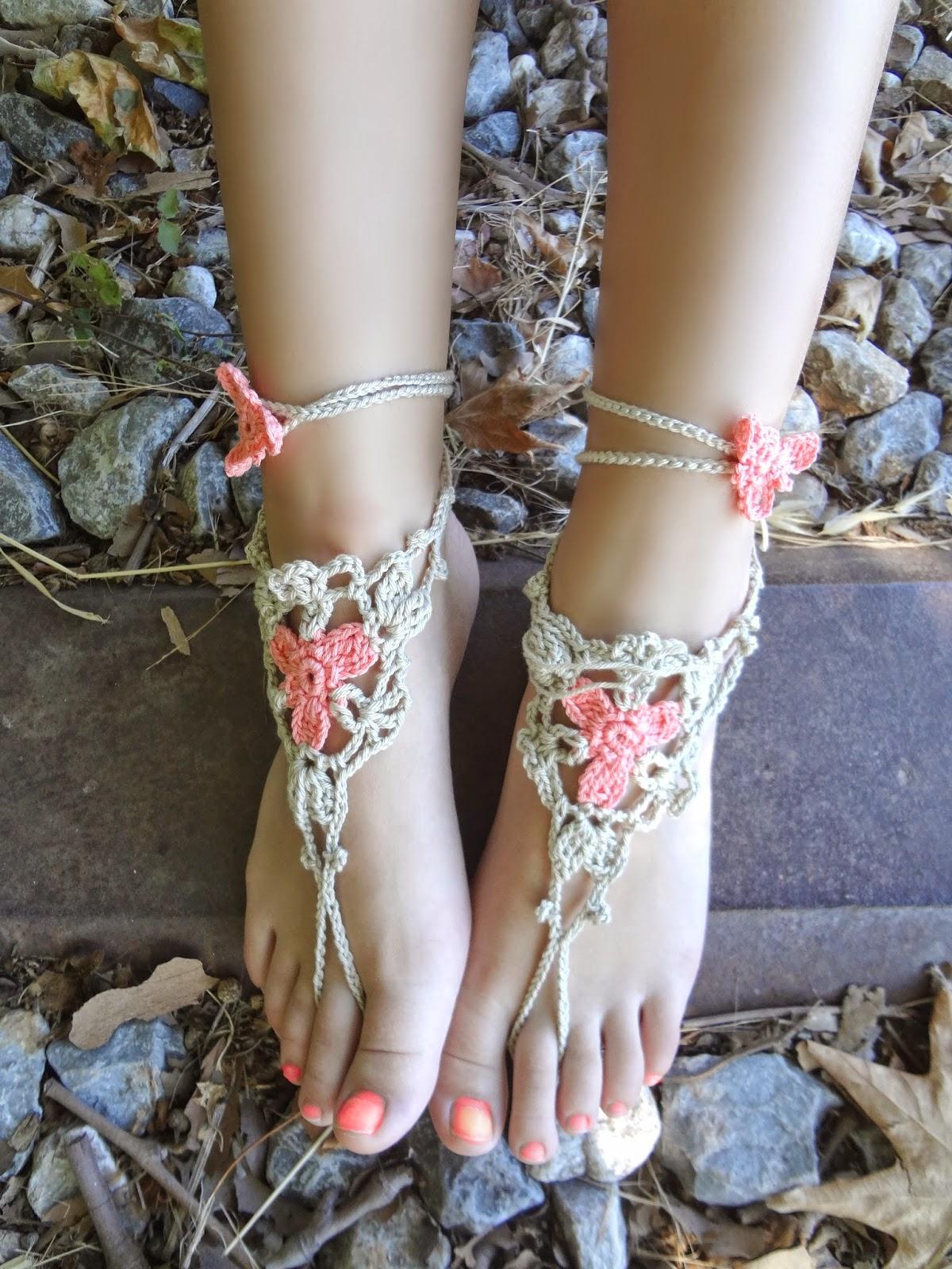 Little Treasures: Crochet Flower Barefoot Sandals PDF Pattern