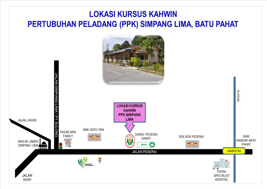 Peta Lokasi Kursus Simpang Lima, Batu Pahat