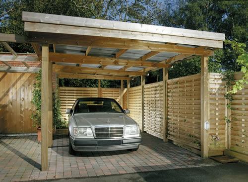Wooden carports for Flat roof garage with deck plans