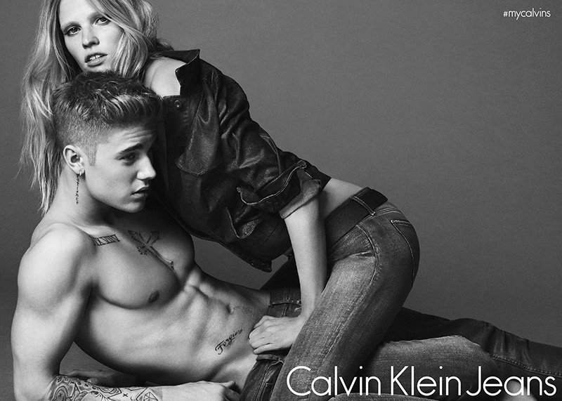 Lara Stone and Justin Bieber get seductive for the Calvin Klein Underwear and Jeans Spring/Summer 2015 Campaign