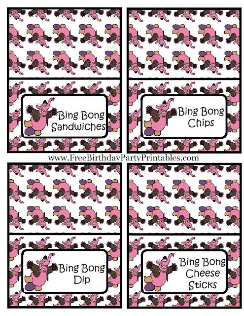 "Free Bing Bong  ""Inside Out""  Birthday Party Printables- Food Cards Bing Bong Sandwiches, Bing Bong Chips, Bing Bong Dip, Bing Bong Cheese Sticks"