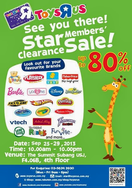 25 Sep 2013 Wed 29 Sep 2013 Sun Toys R Us Star Members Clearance Sale