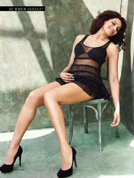 Bipasha Basu in black nighty - Bipasha Basu's Men's World April 2012 Magazine scans - in black nighty