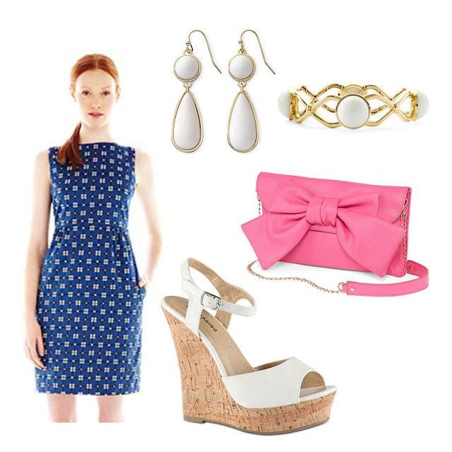 joe fresh, jcpenney, spring, dress, outfit, pink, bow, lulu guinness, purse, liz claiborne