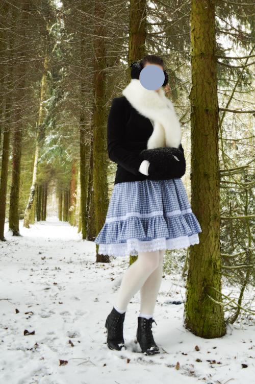 ootd, outfit, winter, lolita, blue, japan, snow, muff, handwarmer, petticoat, black, white, velvet, earmuff, fur