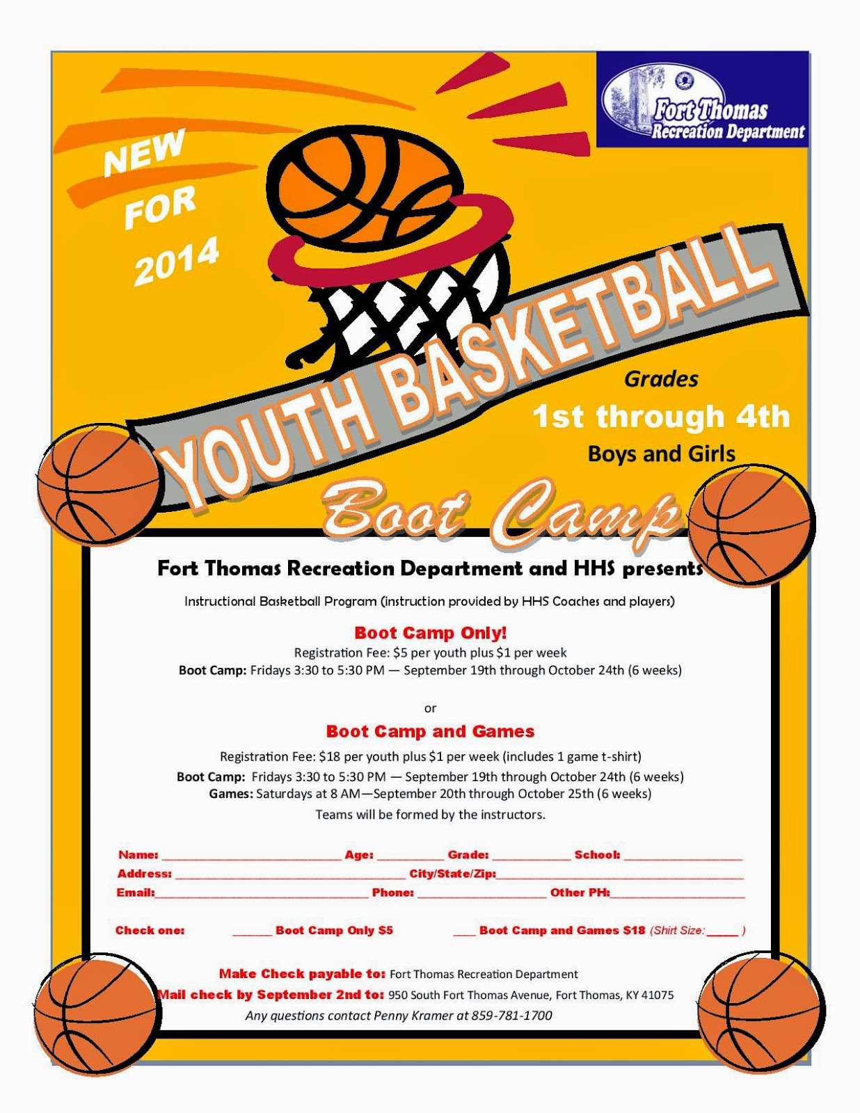 Fort thomas matters rec department hhs basketball to for Basketball camp brochure template