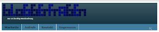 Das Bild zeigt den Header mit Blog-Beschreibung, in einer angepassten Schriftgröße, 10px.