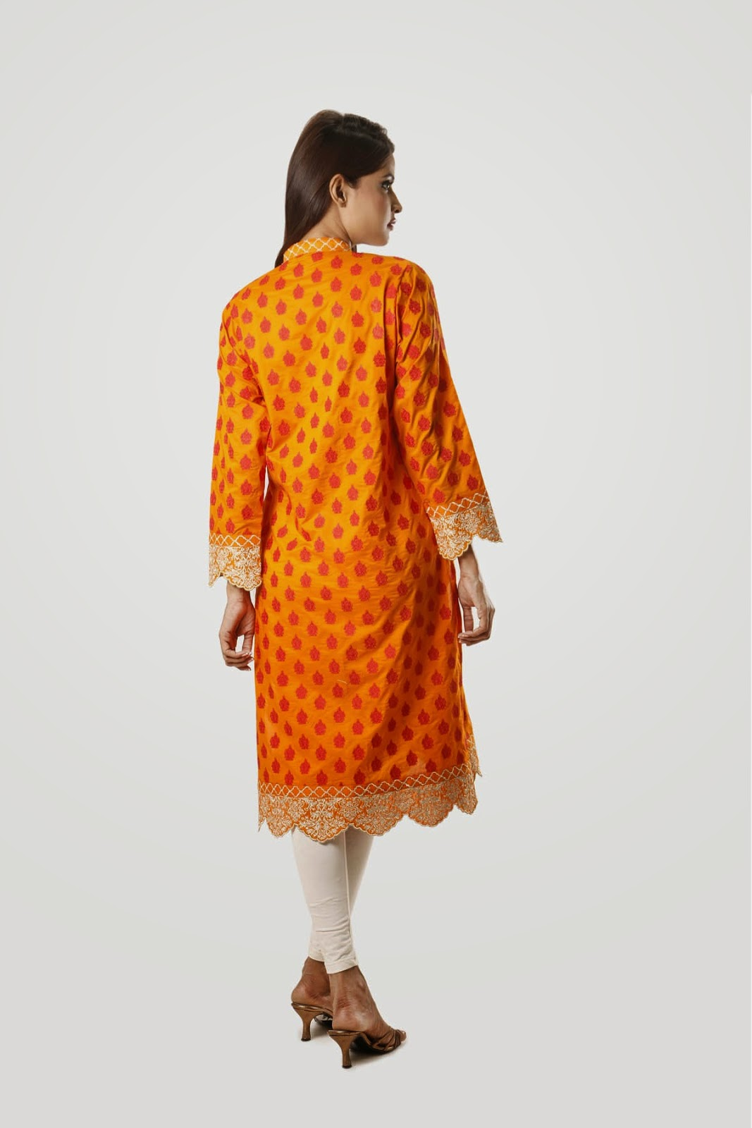Embroidered Dress collection 2015 in Orange Cotton Fabric