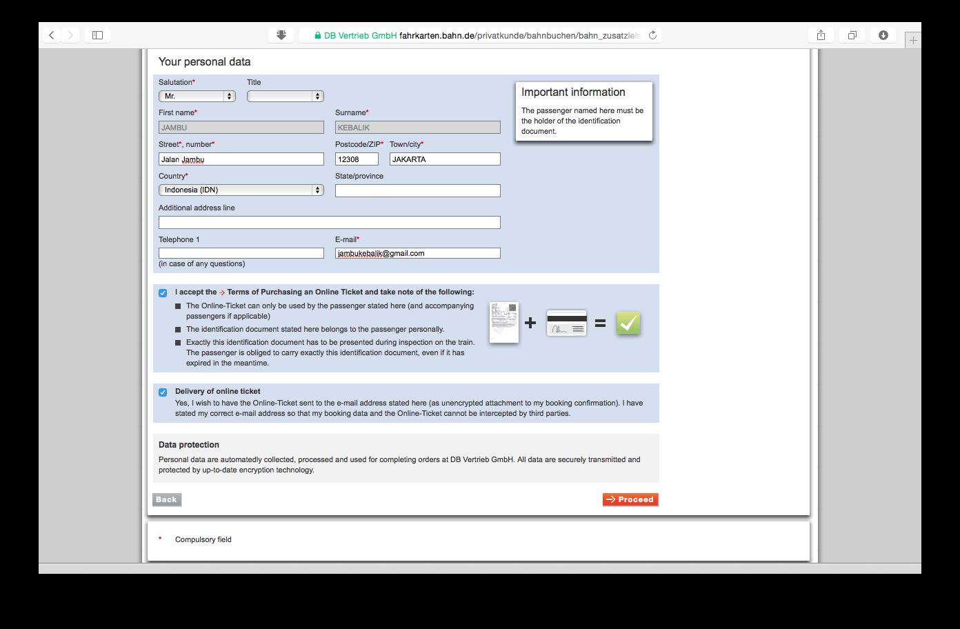Tampilan web bahn.de: pengisian data penumpang