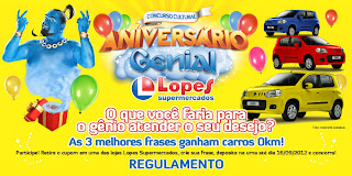 "Concurso Cultural ""ANIVERSÁRIO GENIAL"" Lopes Supermercados"