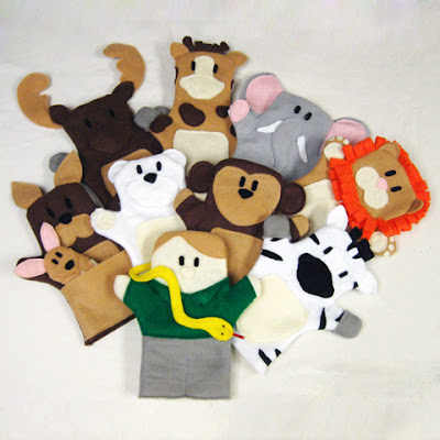 Zoo animal hand puppets and plans now available at KR Finger Puppets