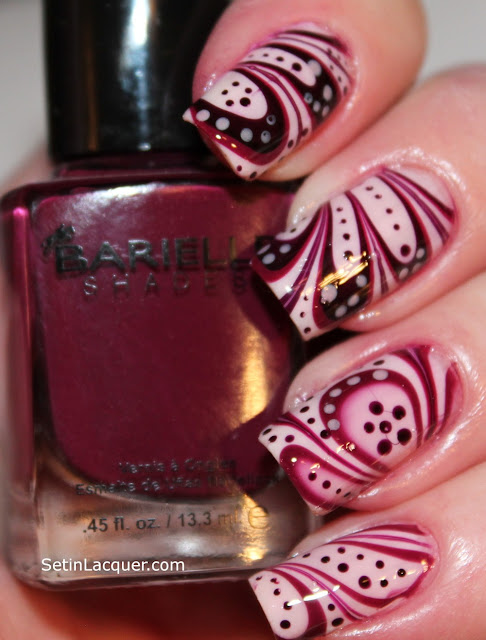 Water marble nail art using Barielle