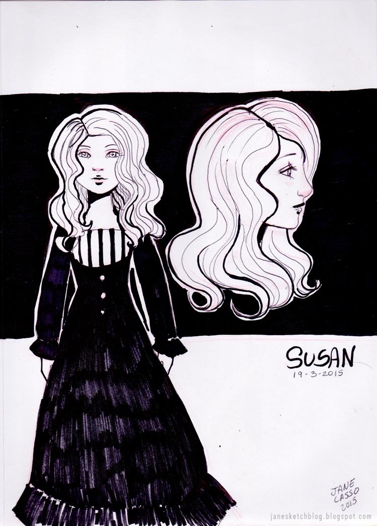 Dibujo de niña victoriana en blanco y negro