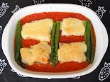 Peix al forn amb tomàquet i maionesa