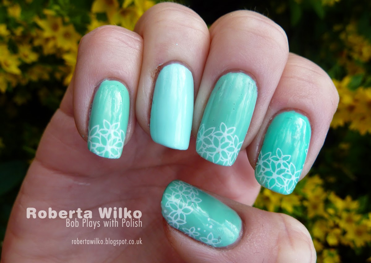 Bob Plays With Polish Aqua Gradient And Simple Floral Stamping