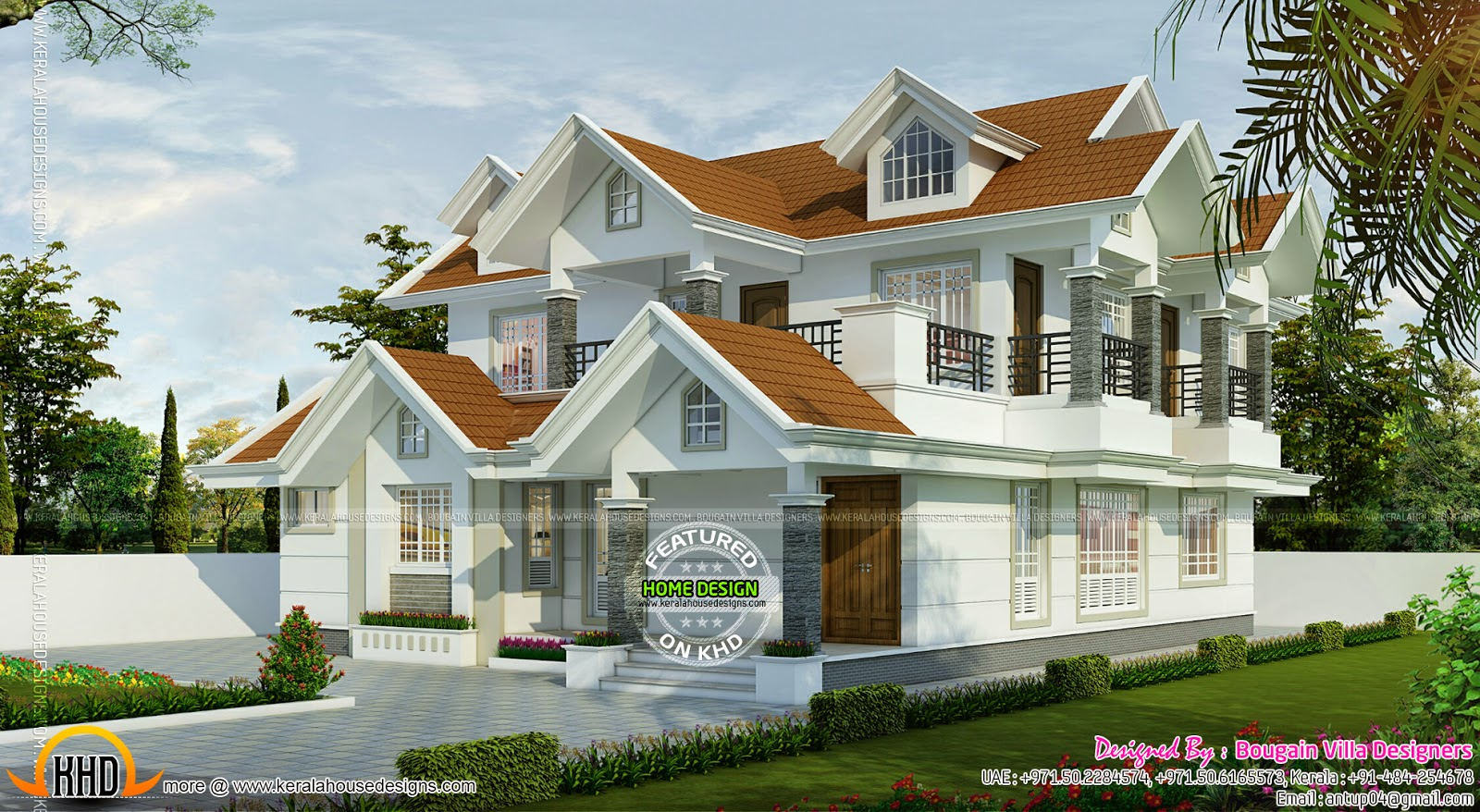 Dormer house exterior kerala home design and floor plans for Dormer house plans designs