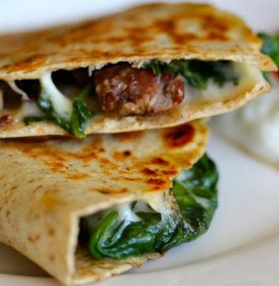 Steak and Spinach Quesadilla with Provolone Recipe