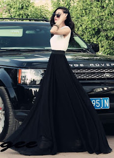 Falda larga de doble capa plisada