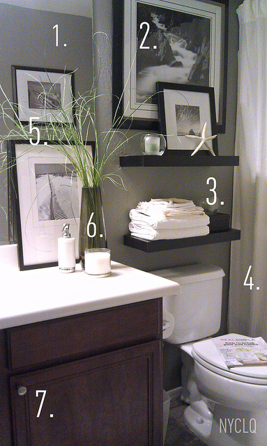 FOCAL POINT STYLING: RENTAL RESTYLE: Small Bath Space Decor + Awkward ...