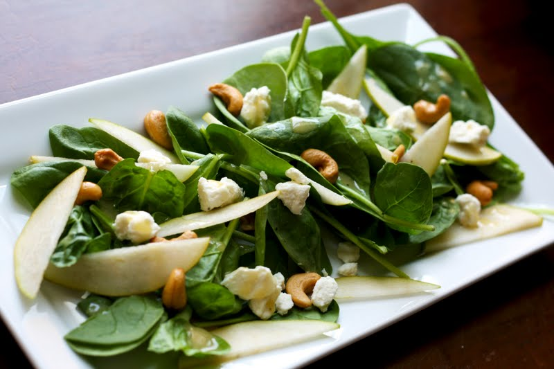 Flourishing Foodie: Pear and Feta Spinach Salad