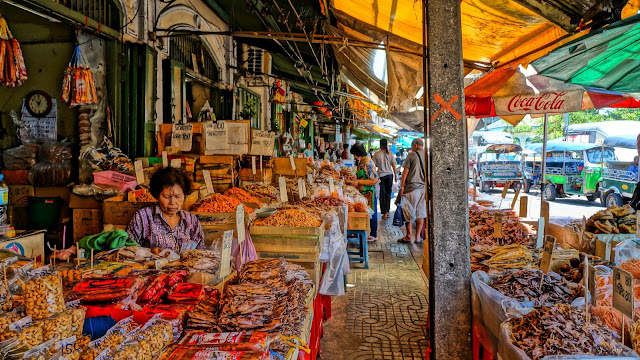 HDR Painting using Sony NEXF3. Dried fish, squid and prawns market near Wat Pho.