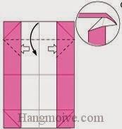 Bước 5: Từ vị trí mũi tên trắng, mở hai lớp giấy trên cùng ra, kéo và gấp cạnh giấy xuống phía dưới.