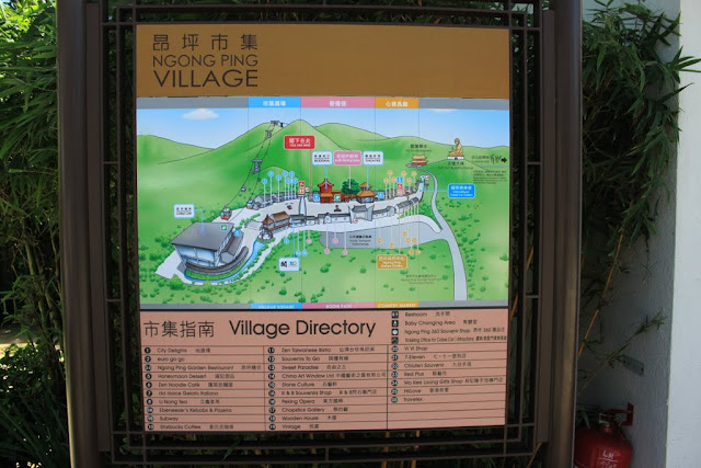 The map of Ngong Ping Village can be found after getting down from cable car terminal in Hong Kong