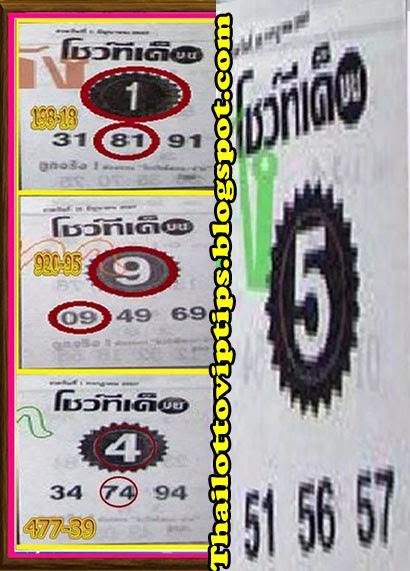 Thai Lotto 3up Single Sure Digit 16-07-2014