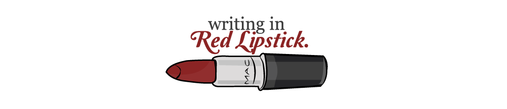 writing in red lipstick.