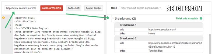 Berhasil Memasang Breadcrumbs Terindex Google
