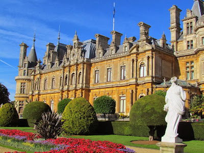 UK, England, Britain, Waddesdon Manor, autumn, Baron Ferdinand de Rothschild, National Trust, visit, day trip, flowers, statue