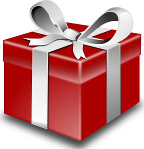 Red present with white ribbon clipart