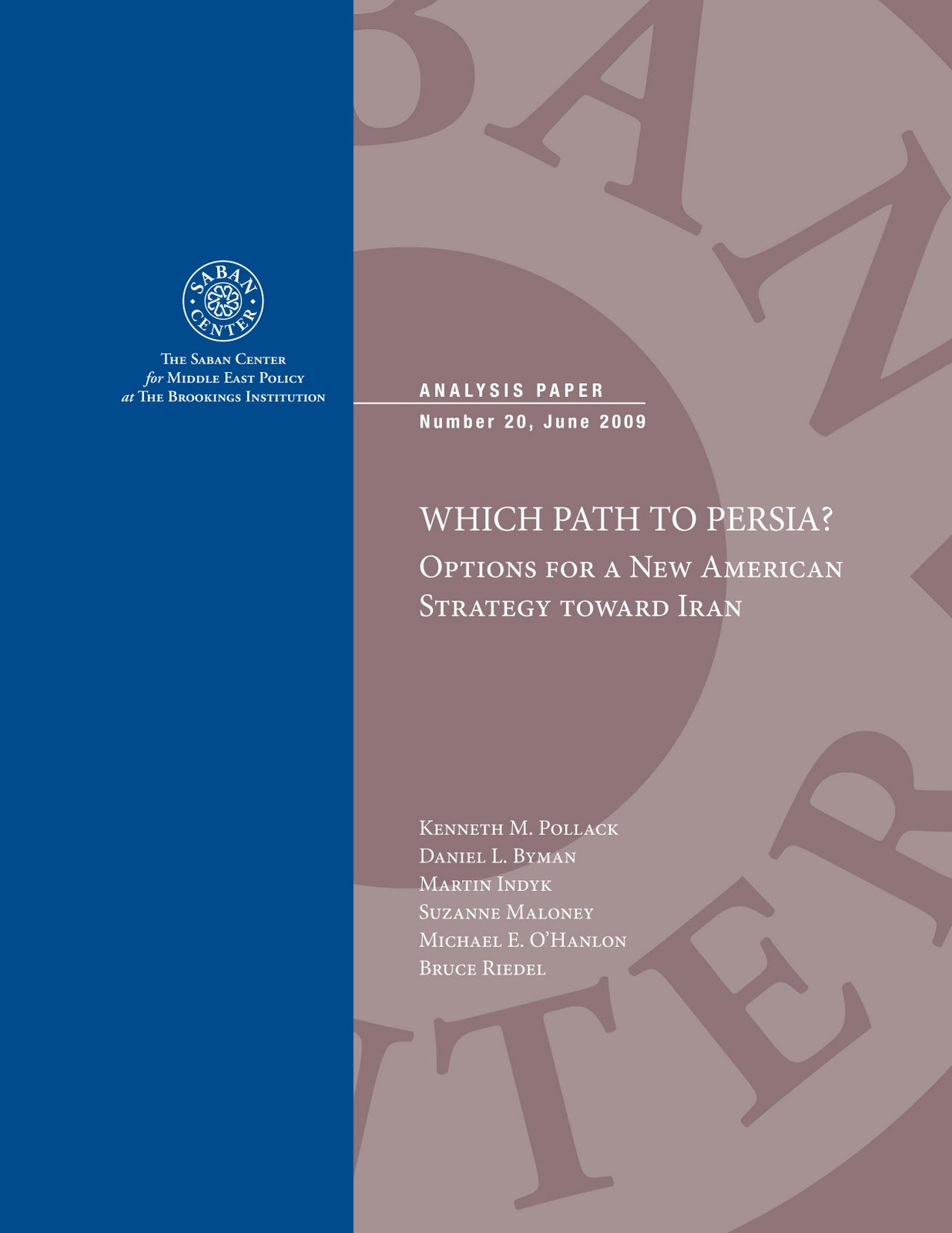 BrookingsWhichPathtoPersia2010Cover WHICH PATH TO PERSIA?