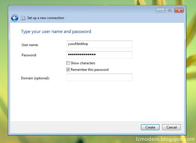 Masukkan username dan password