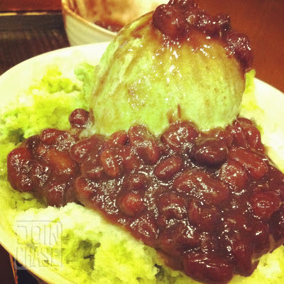 Green tea patbingsu with red beans in Cheongju, South Korea.
