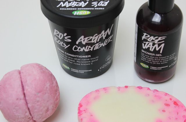 A picture of Lush Ro's Argan Body Conditioner, Lush Rose Jam Shower Gel, Lush Rose Jam Bubbleroon and Lush Pearl Massage Bar