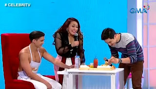 Ai-ai Delas Alas trying out Alden Richards' Spaghetti with a Twist.