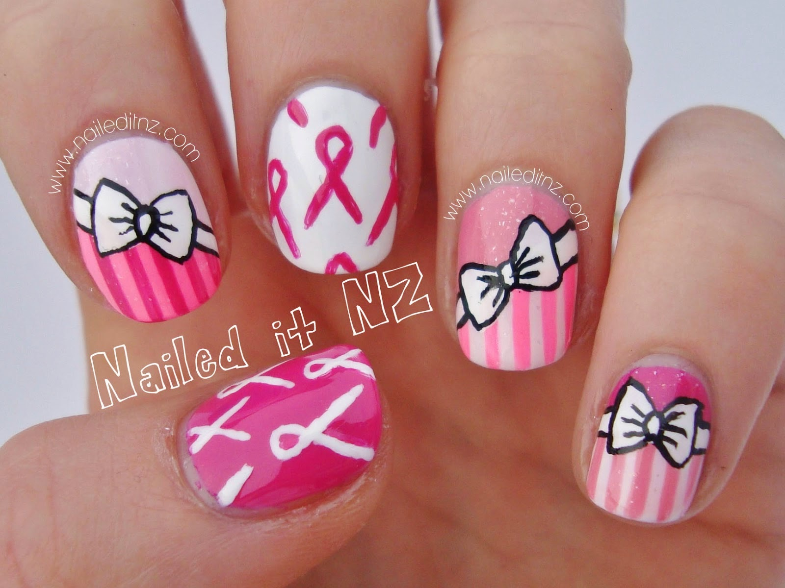 Pink Ribbon Nail Art | Breast Cancer Awareness