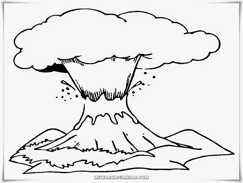 Mewarnai gambar pemandangan gunung meletus