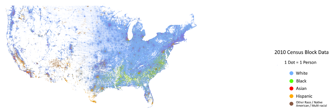 SimpleRNA United States Map By Demographics - Racial map of the us