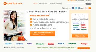 página de inicio de carritus, el comparador de supermercados on line.