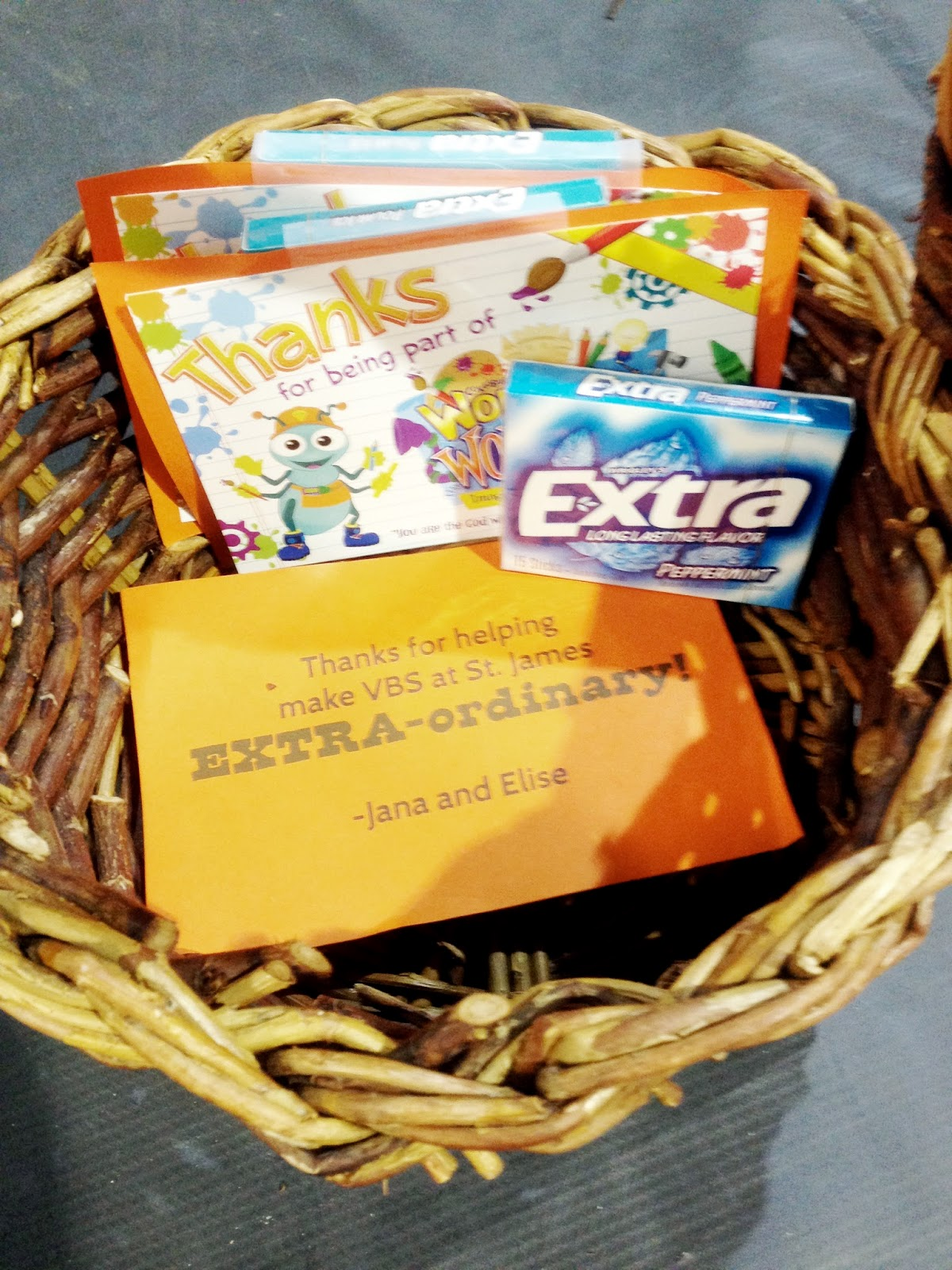 "Dancing Commas :: Workshop of Wonders VBS :: Thank you gift for VBS volunteers ... Extra gum and a note that says ""Thanks for making VBS EXTRA-ordinary!"""