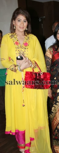 Shreedevi Chowdary Yellow Salwar