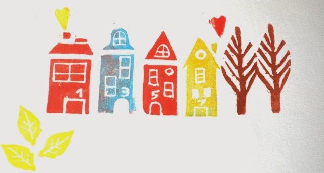 sellos de casas tallados en goma de borrar