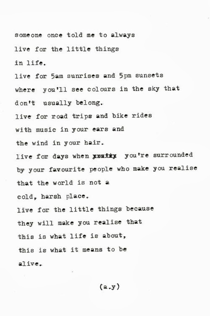 Always live for the little things quote