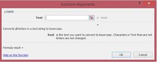 Fungsi argument untuk rumus excel LOWER