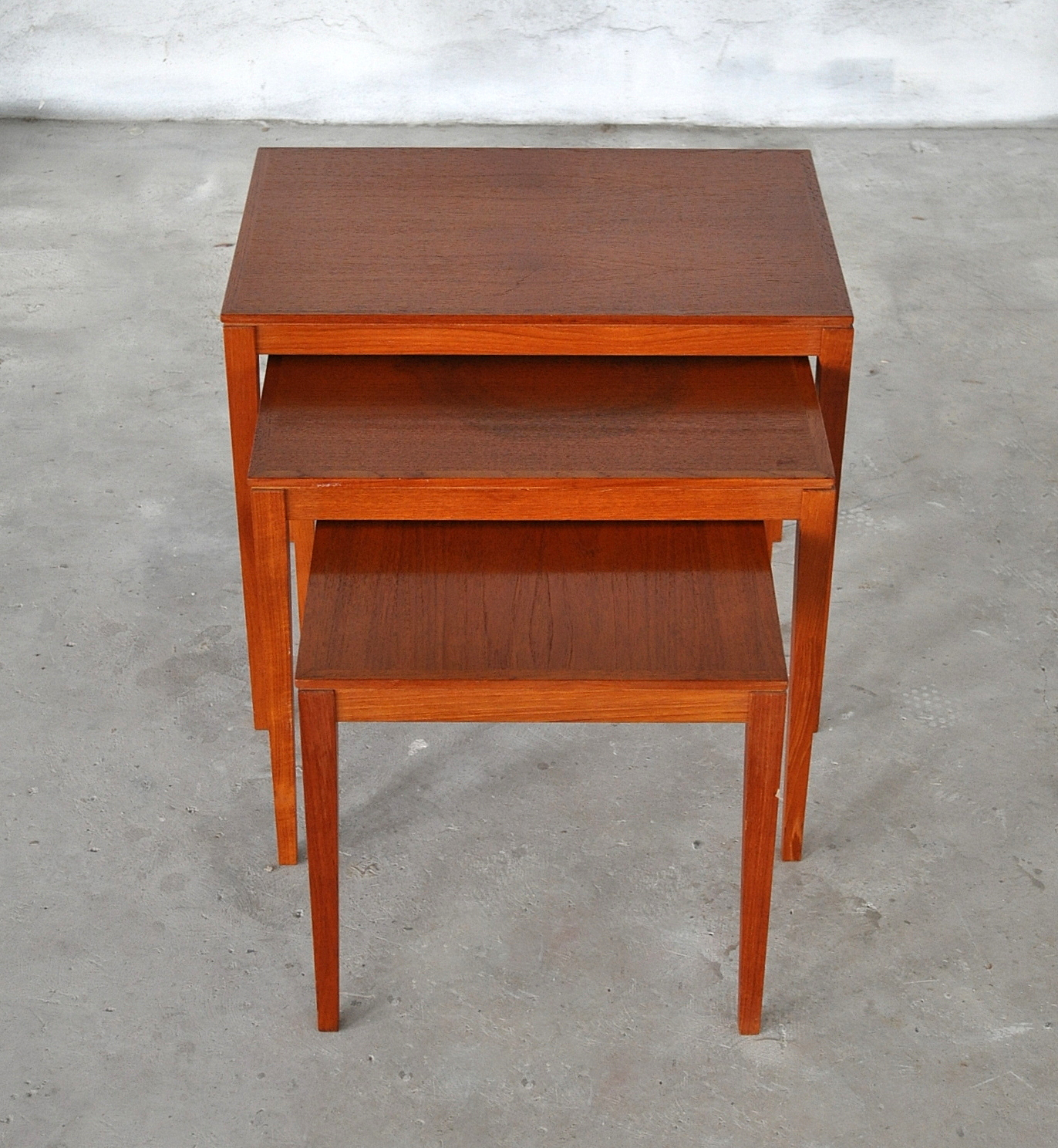 Teak Nesting Tables ~ Select modern danish teak nesting tables side table