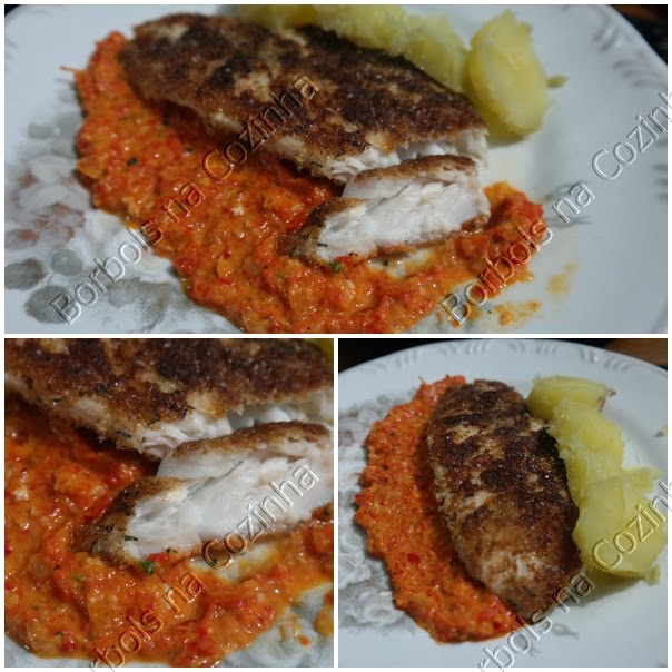 filé de peixe com purê picante de pimentão e batata doce Low Carb