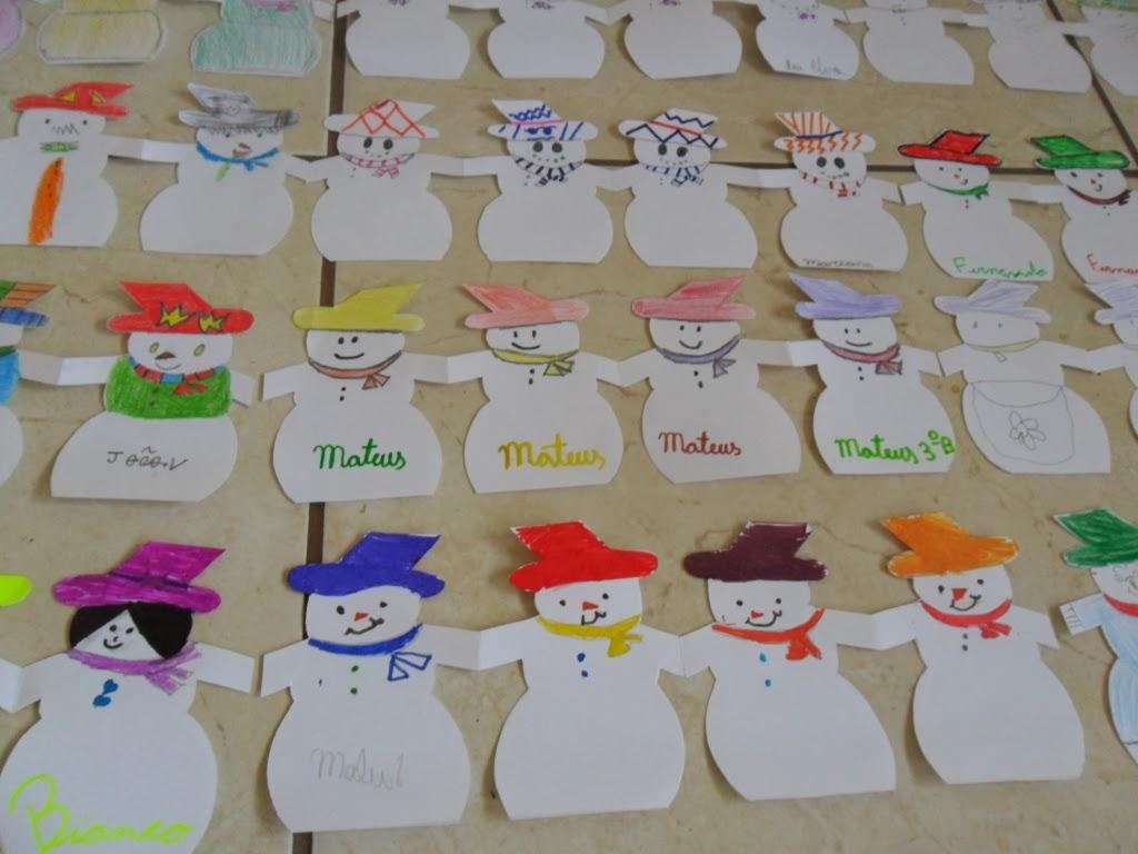 Pedag giccos bonecos de neve guirlandas festivas for Mural de natal 4 ano