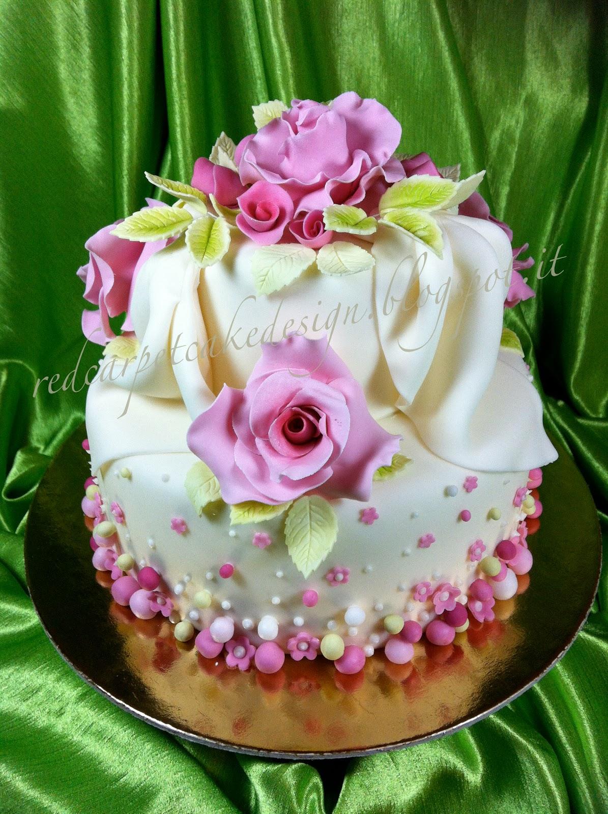 Red Rose Cake Design : ROSES AND POIS ELEGANT CAKE by Red Carpet Cake Design ...